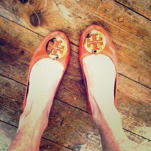 Tory Burch Reva leather orange flats